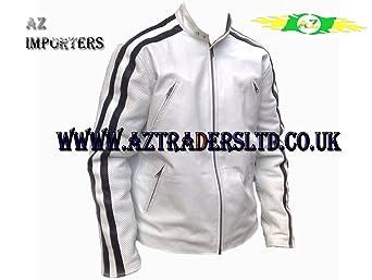 AZ Men's Cafe Racer Veste blanche avec bandes en Cuir Noir-Taille L (Europe) Taille 42