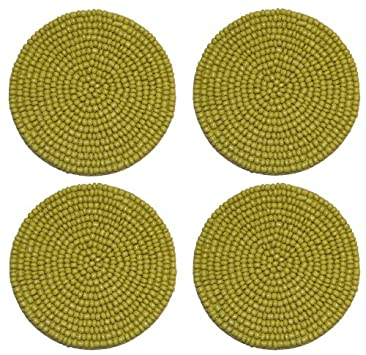 Cotton Craft - Chartreuse Green Hand Crafted Beaded Coaster - Set of 4 - 2 Inches Round
