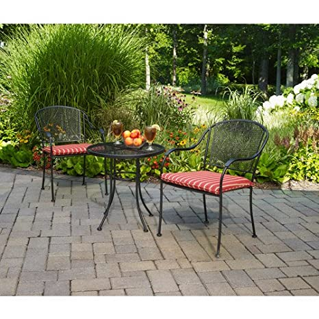 3 Pc Chairs with Cushions and Table Furniture Outdoor Patio Set Garden Bistro