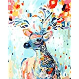 Komking DIY Oil Painting, Paint by Numbers Kit for Adults Beginner, Colorful Deer Painting on Canvas with Wooden Frame 16x20inch (Color: Colorful Deer Framed)