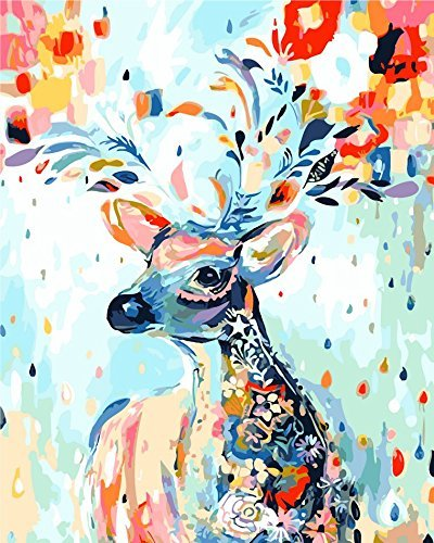 Komking Painting by Numbers Kits, DIY Paint by Numbers for Adults with Brush Canvas, Colorful Deer 16x20inch (Color: Colorful Deer)
