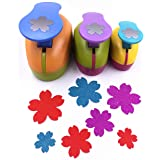 TECH-P Set of 3PCS (2 inch+1.5 inch+1inch) Craft Punch Set Paper Punch Paper Punch Tool Eva Punches for Making Arts Crafts Projects Cards Scrapbooking Garland Hanging Decorations (Cherry) (Color: Cherry)