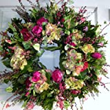 Shades of Pink Roses and Hydrangea Flowers Handcrafted Floral Wreath (20-22 inch)