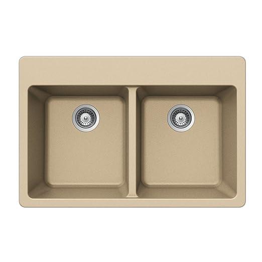 Houzer ALIVE N-200 AVORIO Schock-Houzer Alive Series N-200 Topmount 50/50 Double Bowl Kitchen Sink, Avorio