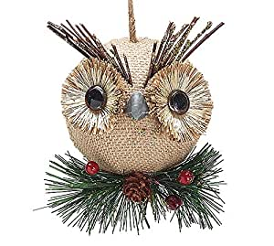 Burlap owl christmas ornaments holiday for Home decorations amazon