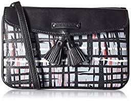 Vera Bradley Tassel Wristlet Clutch, Black/White Art Plaid, One Size