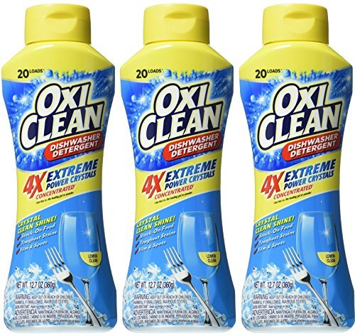 Oxi Clean Dishwasher Detergent - Extreme Power Crystals - 4X Concentrated - Lemon Clean - Net Wt. 12.7 OZ (360 g) Each - Pack of 3 (Oxiclean Dishes compare prices)