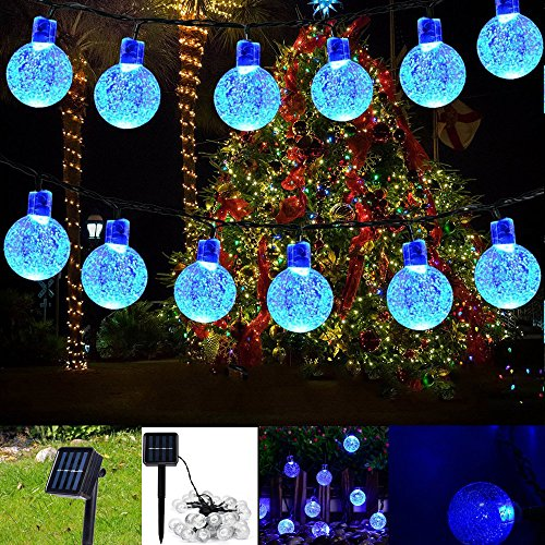 Christmas Solar String Light garland ,20ft 30LED Fairy String Lights Bubble Crystal Ball Lights Decorative Lighting for Indoor, Garden, Home, Patio, Lawn, Party ,Holiday ,Ooutdoor Decor (blue)