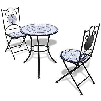 vidaXL Set mesa mosaico 60 cm y 2 sillas, color azúl blanco