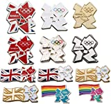 Official London 2012 Olympic Logo in colour of Union Jack,White, Gold, Glittering, Pewter and Rainbow Theme Tie Coat Pin Badge Limited Edition - Souvenir of Olympic Christmas Gift (Union flag With White Olympic Pin Badge)