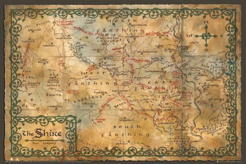 GB eye, Hobbit, Map of The Shire, Maxi Poster, 61x91.5cm