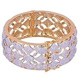 JNB Jewellers American Diamond Broad Bracelet in Bangle Style