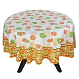 "70"" Round Tablecloth - Exquisite Orange, Green, And Yellow Floral Cotton - Handmade Indian Linen"