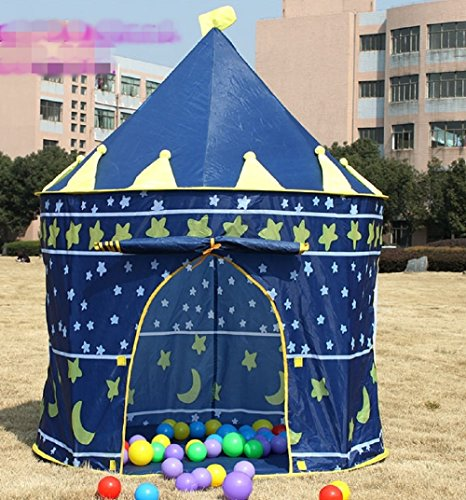 屋内 でも 屋外 でも こども 用 可愛い お城 テント 遊び 道具 グッズ キッズ 子ども (2 ブルー)