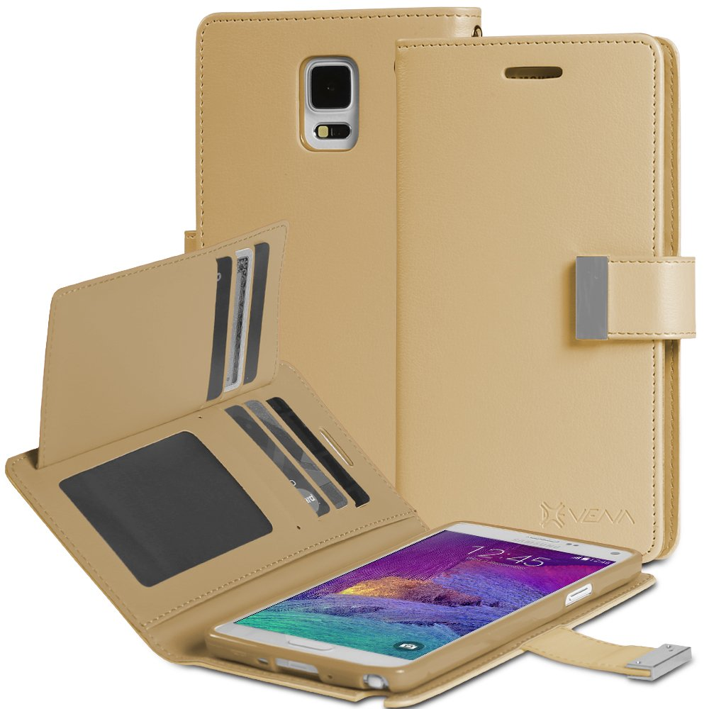 Galaxy Note 4 Case - VENA® [vDiary] Slim Tri-Fold Leather Wallet Case with Stand Flip Cover for Samsung Galaxy Note 4 чехол для для мобильных телефонов rcd 4 samsung 4 for samsung galaxy note 4 iv