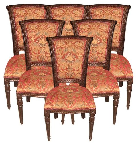 6 New Side Chairs French Scroll Carving Arched Red Fabric Distressed Walnut