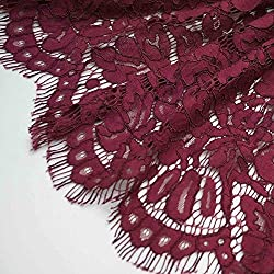 New 150cm*150cm Embroidery Eyelash Cotton Lace Fabric French Cord Lace Cloth Nigerian African Guipure Lace For Party Wedding Dress 08 wine red