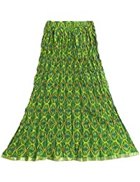 DollsofIndia Multicolor Print On Green Crushed Long Skirt - Length 37 Inches - Green