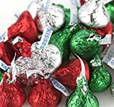 Hershey Kisses - Bulk - Red, Green and Silver - Christmas - Holiday Hershey's Milk Chocolate Kisses - 5 lbs
