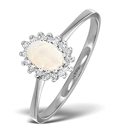 TheDiamondStore | Cluster Ring - Opal & Diamond - 9K White Gold