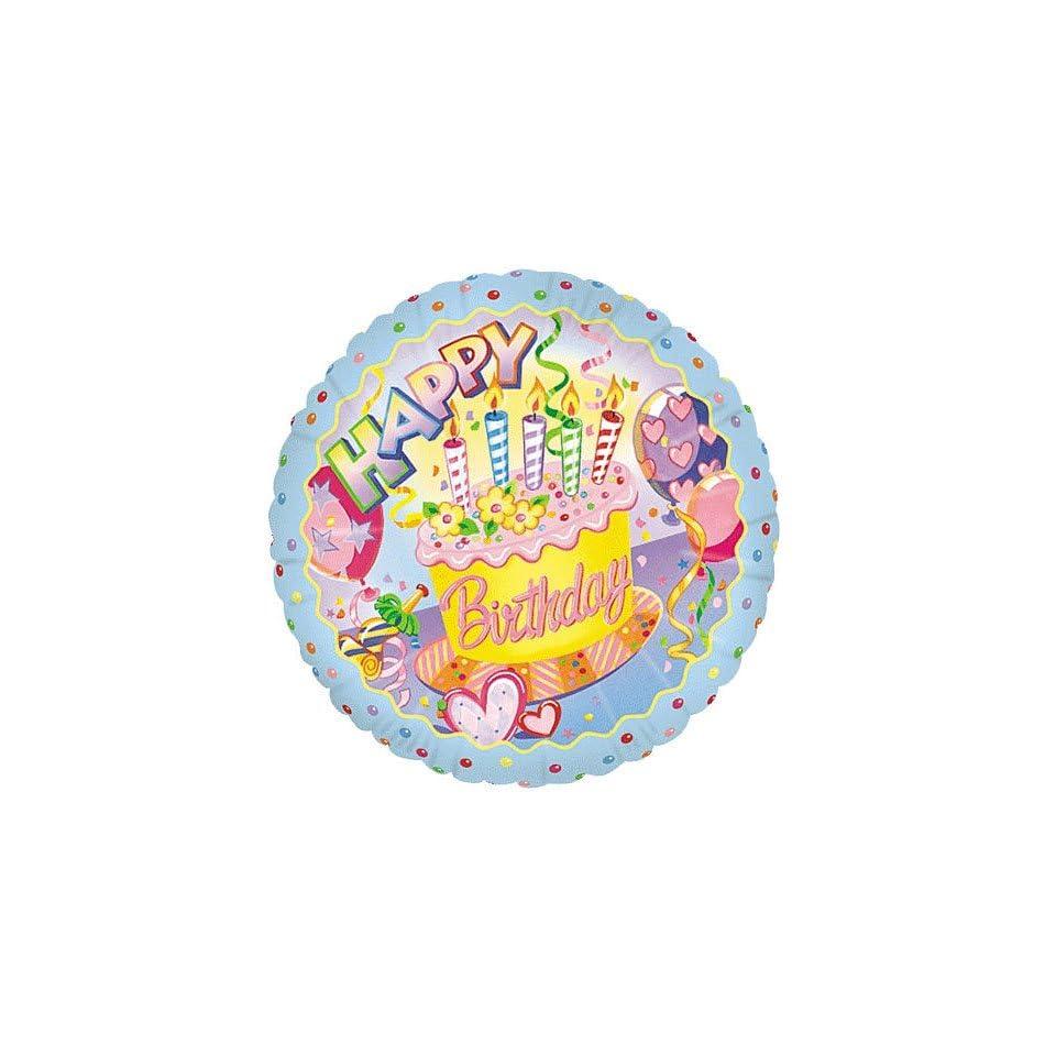 Happy Birthday Cake Candles Streamers 18 Mylar Balloon