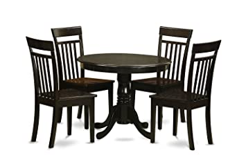 East West Furniture ANCA5-CAP-W 5-Piece Kitchen Table Set, Cappuccino Finish