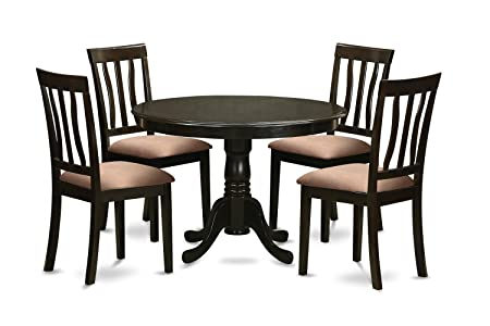 East West Furniture HLAN5-CAP-C 5-Piece Kitchen Table Set, Cappuccino Finish