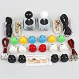 SANWA EG Starts Classic 2 Player Arcade Video Games Kit DIY Bundle for PC Joystick & Raspberry Pi RetroPie DIY Projects & Mame Jamma Parts - White + Black Stick + 16x OBSF- 30 MIX Colors Buttons