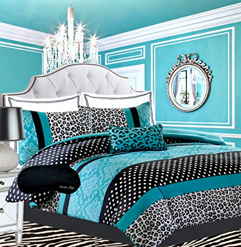 Teen Girls Bedding Damask Leopard Comforter Black White