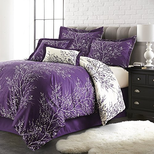 Spirit-Linen-Hotel-5Th-Ave-6-Piece-Foliage-Collection-Plush-Reversible-Comforter-Set-Queen-PurpleIvory