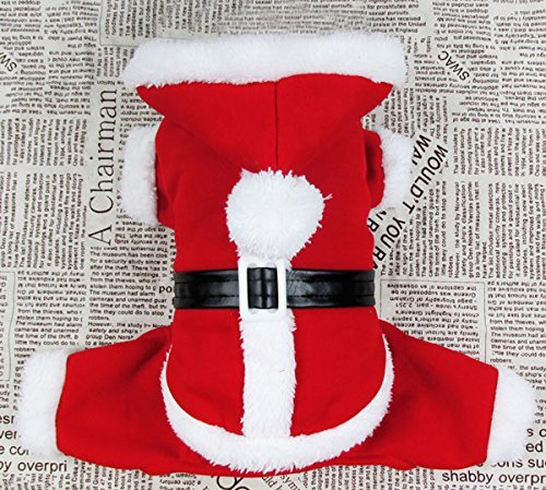 [smalllee_lucky_store?Pet Cat Dog Clothes Christmas Santa Claus Costume Hoodie Velvet Coat Jumpsuit Small Dog Clothes] (Dog Grinch Costumes)