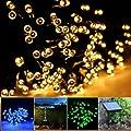 Lychee 17m 55 pies 100LED Solar impermeable hadas de las luces con 2 modos para la decoraci�n de exteriores, interiores, de la boda, jard�n, casa, fiesta, navidad (Blanco c�lido)