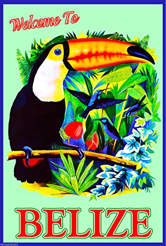 Belize Central America Caribbean Sea Beach Ocean Travel Advertisement Poster (Central America Poster compare prices)
