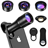 Hpory Zoom Telephone Lens for iPhone Camera Lens Kit 4 in 1 Fisheye Wide Macro Lens 14X Zoom Lens Kit for iPhone and Samsung Android (Color: Black, Tamaño: 4 in 1)