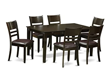 East West Furniture CALY7-CAP-LC 7-Piece Formal Dining Table Set