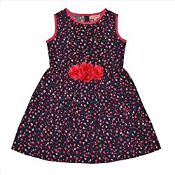 CrayonFlakes Kids Wear for Girls 100% Cotton Sleeveless Frock Navy Blue Floral Dress