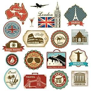 retro vintage travel suitcase stickers set