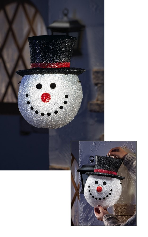 Snowman Head Decorative Holiday Porch Light Cover Snowman