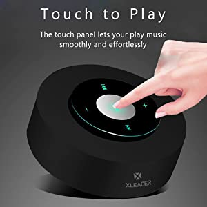 [LED Touch Design] Bluetooth Speaker, XLEADER Portable Wireless Speakers with HD Sound / 12-Hour Playtime/Bluetooth 4.1 / Micro SD Support, for iPhone/ipad/Samsung/Tablet/Laptop/Echo dot (Black) (Color: Black)
