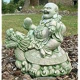 """Steinfigur """"Gl�cksbuddha auf einem Drachen"""" Springbrunnen, gr�nvon """"Wilai"""""""