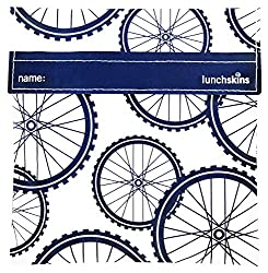 Lunchskins Reusable Sandwich Bag, Navy Blue Bike