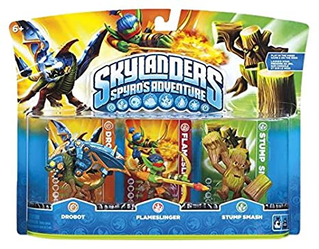 Figurines Skylanders : Spyro's Adventure - Drobot + Flameslinger + Stump Smash