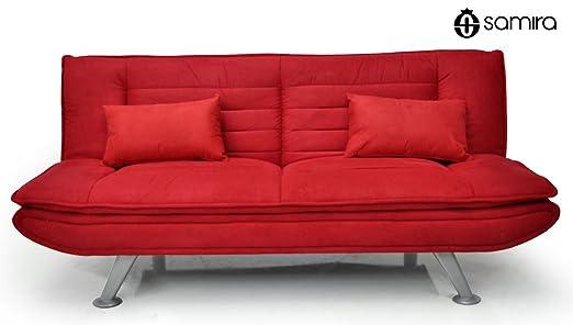 Canapé-Lit en Microfibre Rouge - Canapé 3 places - mod. Iris avec des coussins