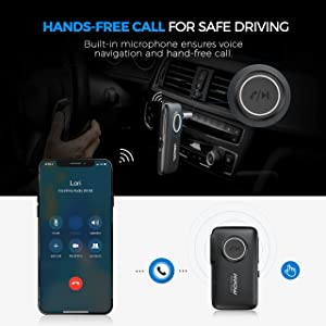 Mpow V5.0 CSR Bluetooth Receiver, 16 Hours Long Playtime Bluetooth Car Adapter, 67 FT Stable Connection Aux Adapter, Easy Control On/Off Slider Switch & Built-in Mic for Hands-Free Calls, Dual Link (Color: Black)