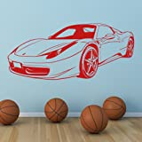 azutura Ferrari Sports Car Wall Sticker Transport Wall Decal Boys Bedroom Home Decor available in 5 Sizes and 25 Colours Large Black (Color: 37. Black, Tamaño: 04. Large 164cm (W) x 73cm (H))