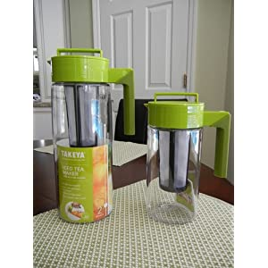 Takeya 64-Ounce Iced Tea Maker with Silicone Handle, Avocado/Olive