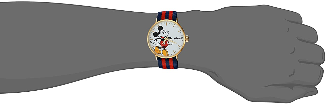 Ingersoll 'Disney Classic Time' Quartz Metal and Nylon Casual Watch, Color:Red (Model: IND 007 GDRD) 1
