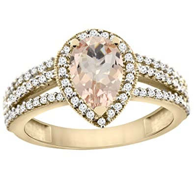 14ct Yellow Gold Natural Morganite Ring 9x7 Pear Halo Diamond, sizes J - T