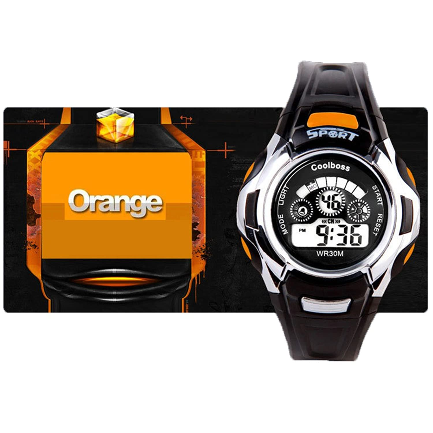 BoZZ Sport Watch Multifunction 7-Color Led Light Digital Waterproof Wrist Sport Watch (Orange)