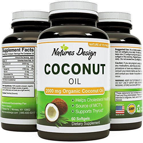 #1 Pure & Organic Coconut Oil, Highest Grade and Quality Capsules (Best Supplements) - Certified Full Strength - 100% Safe & Natural, Premium Formula & Guaranteed By Natures Design 1000 MG PER SERVING 120 SOFTGELS